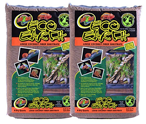 Zoo Med (2 Pack) Eco Earth Loose Coconut Fiber Substrate for Reptiles 8 quarts