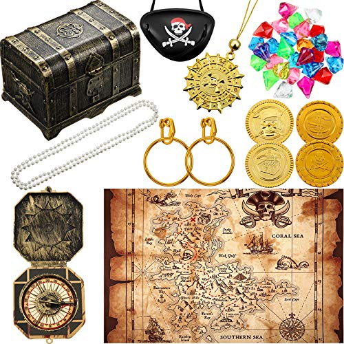 Pirate Treasure Chest Toy Kit Vintage Pirate Treasure Chest Pirate Eye Patch Gold Earrings Gold Coin Pirate Treasure Gems Plastic Toy Compass Pirate Map for Cosplay Themed Party Favors (Magic Style)